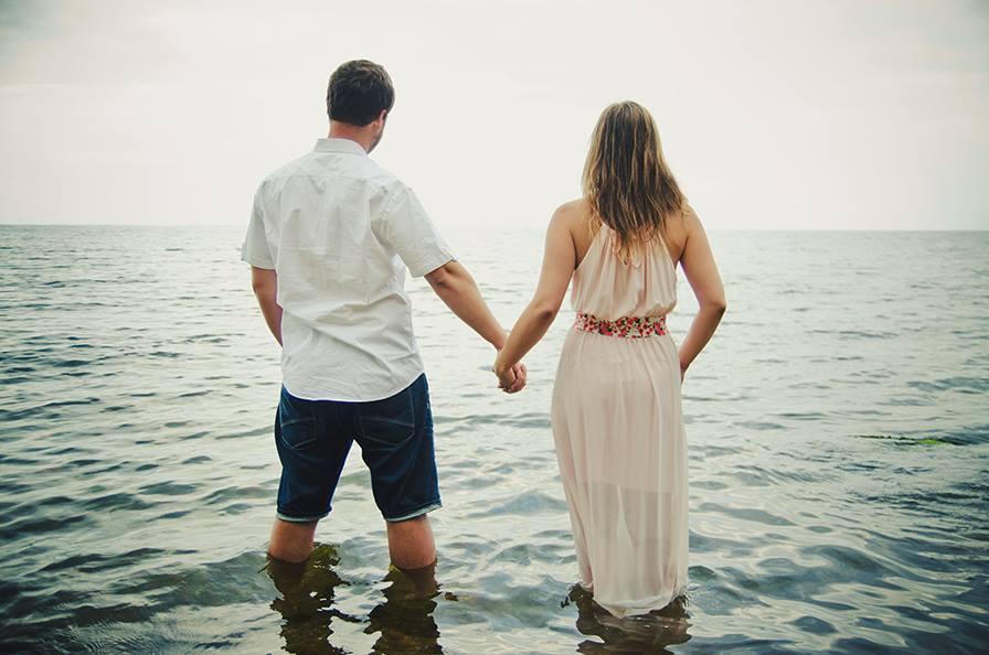 Agnieszka i Filip w morzu